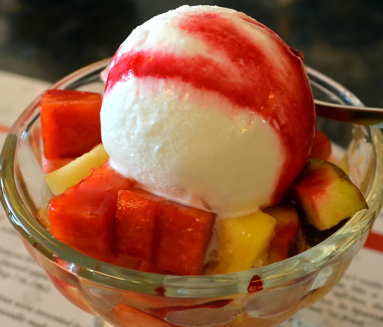 Fresh Fruit Salad with Ice–Cream